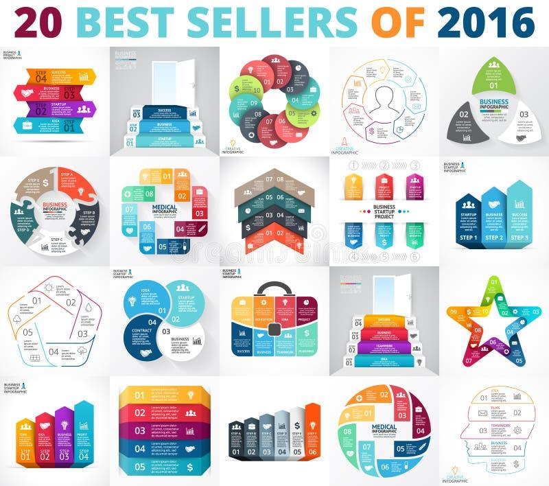 De beste vectorreeks van cirkelinfographics Bedrijfsdiagrammen, pijlengrafieken, startpresentaties en grafieken Gegevensopties royalty-vrije illustratie