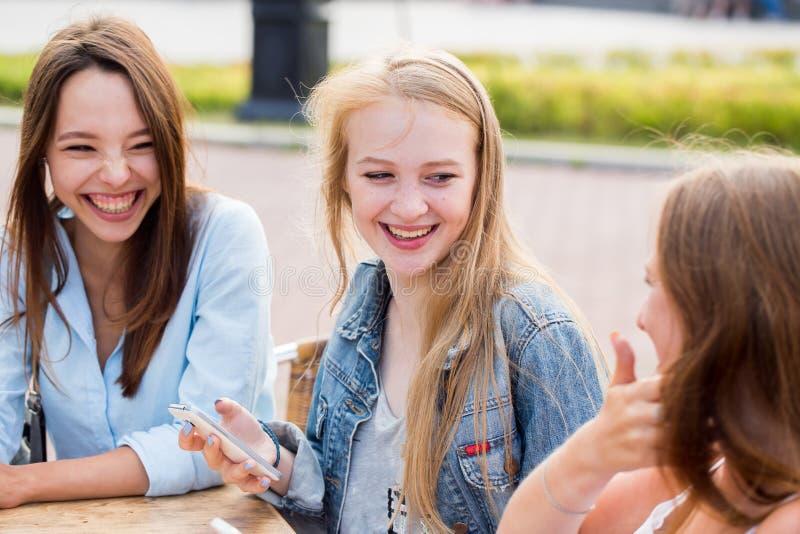 De beste vrienden ontspannen in het Park, lachen en verheugen zich Emoties, geluk stock foto