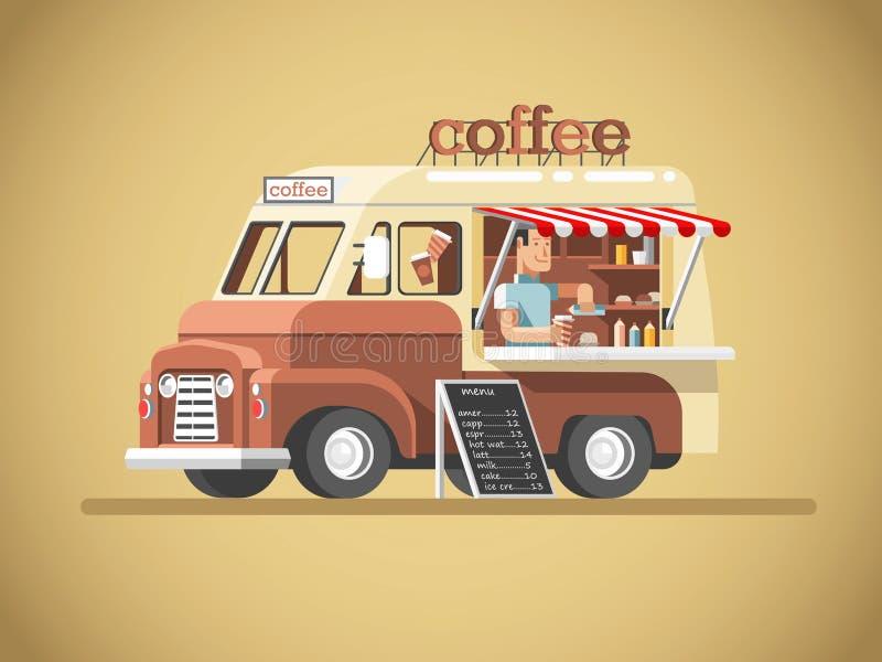 De bestelwagen van de straatkoffie stock illustratie