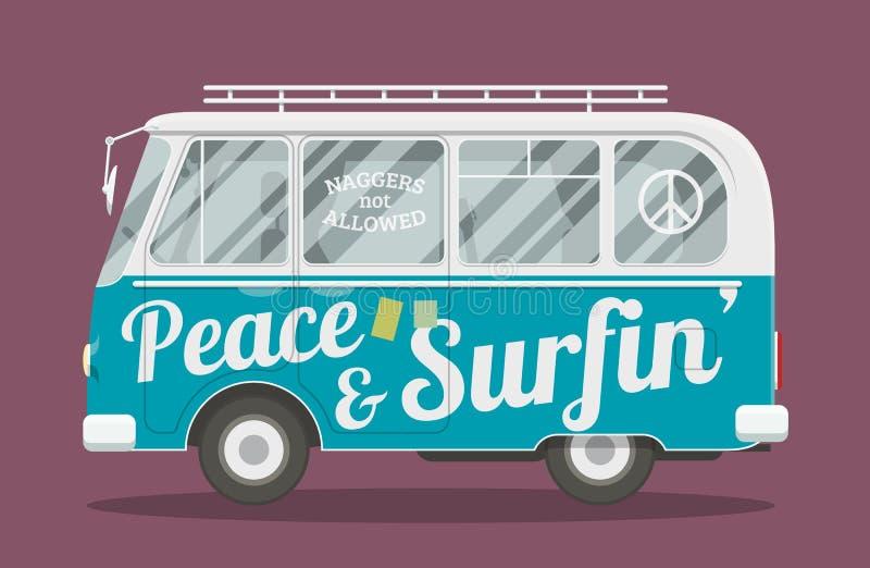 De bestelwagen van de surfershippie vector illustratie
