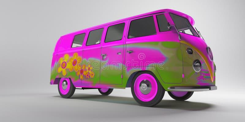De Bestelwagen van Hippy stock illustratie