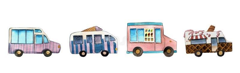 De bestelwagen van de waterverfillustratie en het kleurrijke geïsoleerde voorwerp van de roomijsmachine op witte achtergrond voor stock illustratie