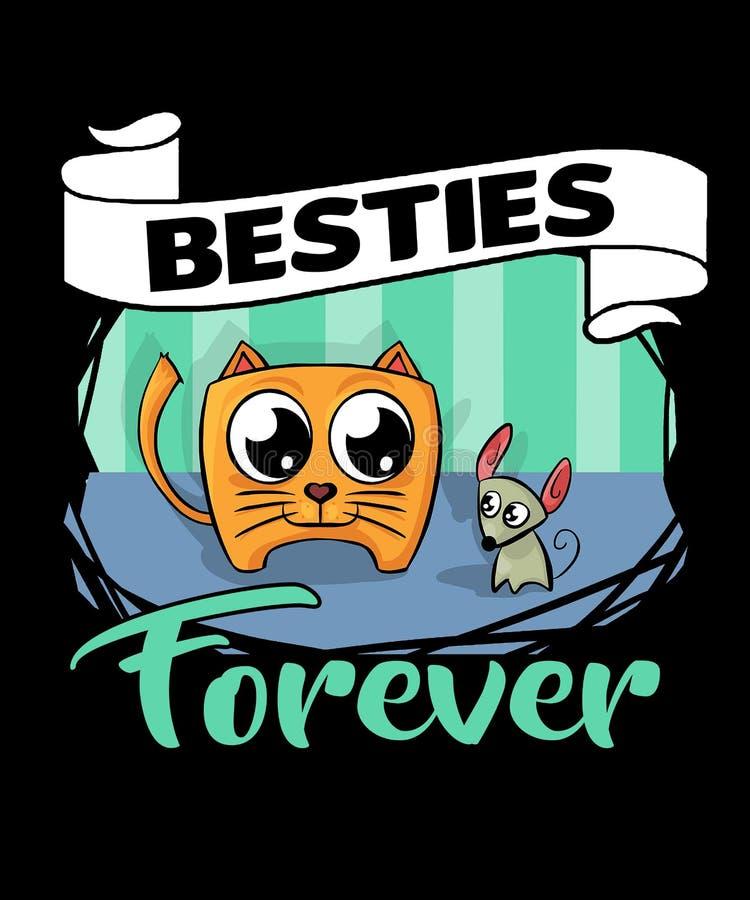 De Besties gato y ratón para siempre stock de ilustración
