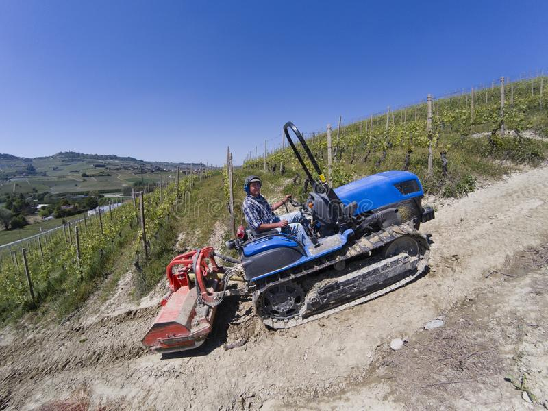 De bestuurder op kruippakjetractor, beklimt steil omhoog in de wijngaarden royalty-vrije stock foto's