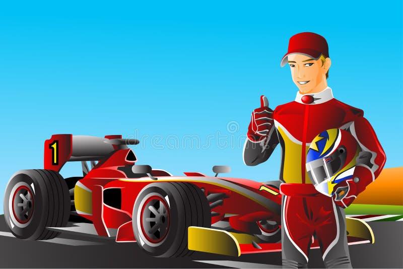 De bestuurder van de raceauto royalty-vrije illustratie