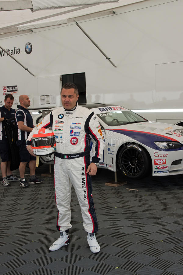 De bestuurder van de raceauto in de Verzameling van Monza stock foto's