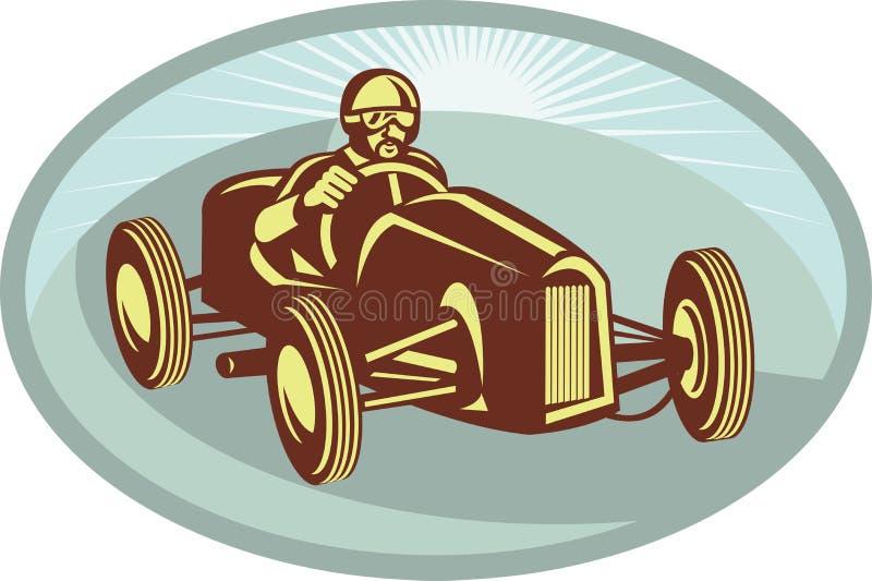 De bestuurder van de raceauto het rennen vector illustratie
