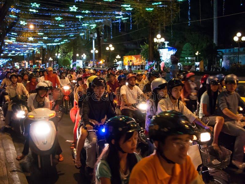 De bestuurders van de motorfiets in Ho-Chi-Minh-Stad Vietnam royalty-vrije stock afbeelding
