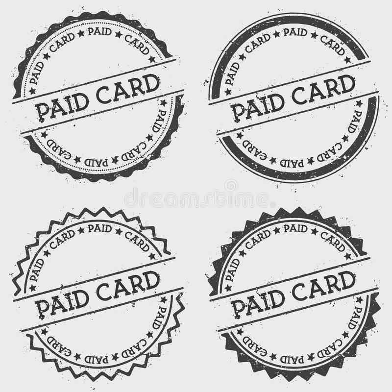 De betaalde die zegel van kaartinsignes op wit wordt geïsoleerd stock illustratie