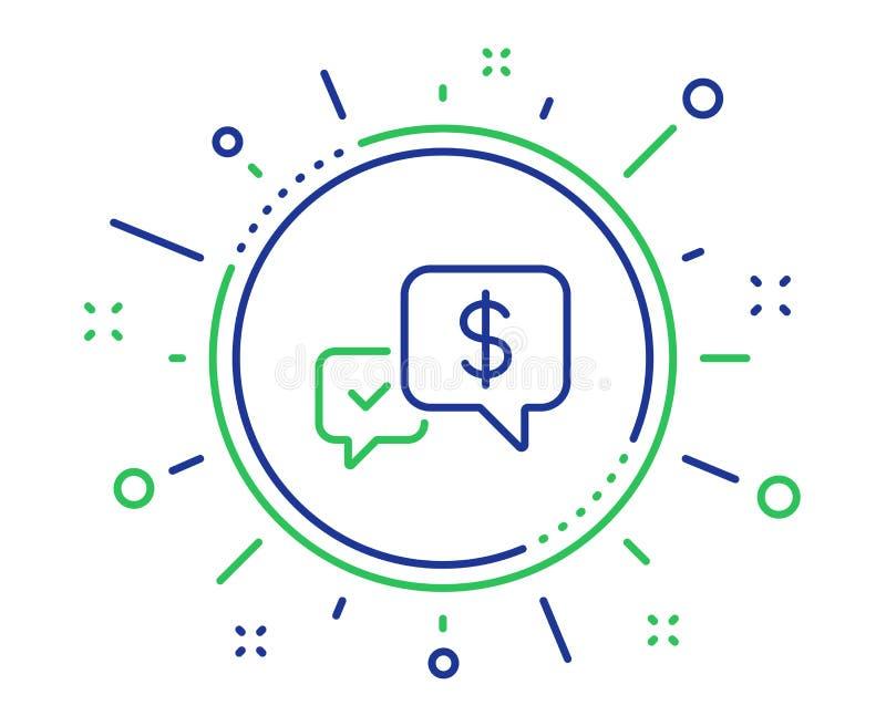 De betaling ontvangt lijnpictogram het teken van de dollaruitwisseling Vector vector illustratie