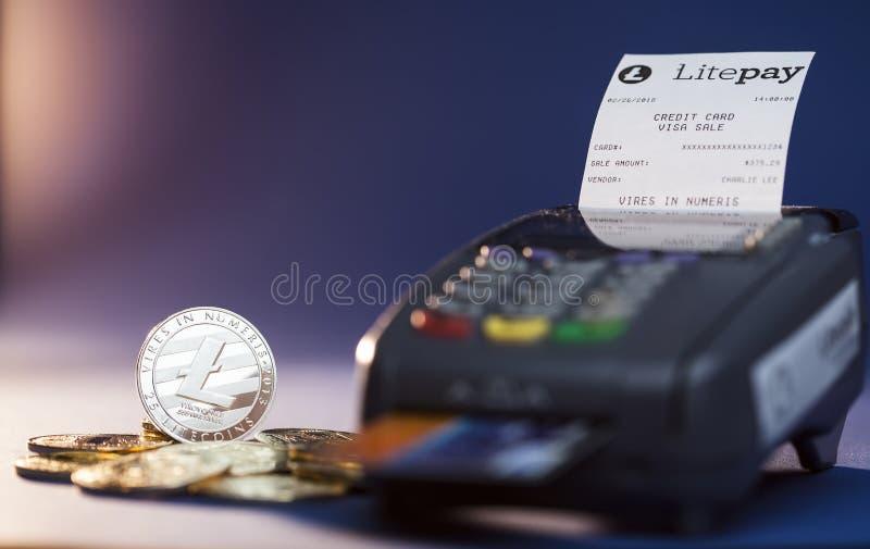 De betalingssysteem van Litepaycryptocurrency stock afbeelding