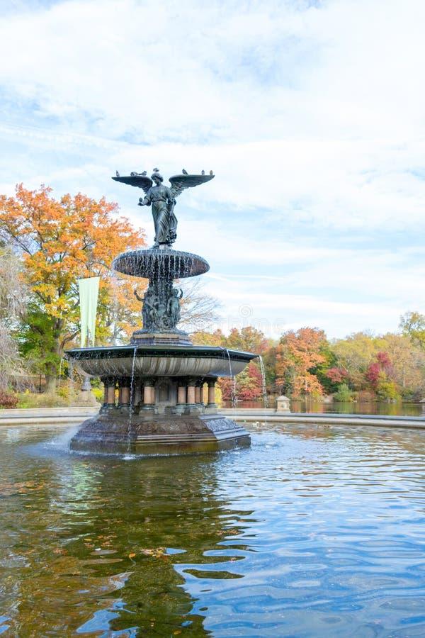 De Bethesda-fontein in een de herfstochtend stock fotografie