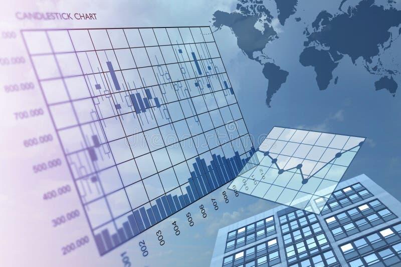 De beursbouw met grafiekenillustratie royalty-vrije stock afbeelding