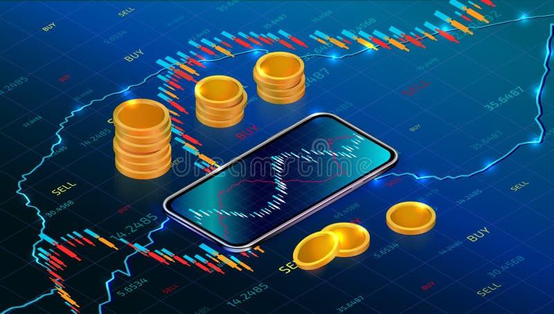 De beursmarkt 4 van de wereld Terugkeer op investeringsconcept met mobiele toepassing Forex die met smartphone op abstracte achte vector illustratie