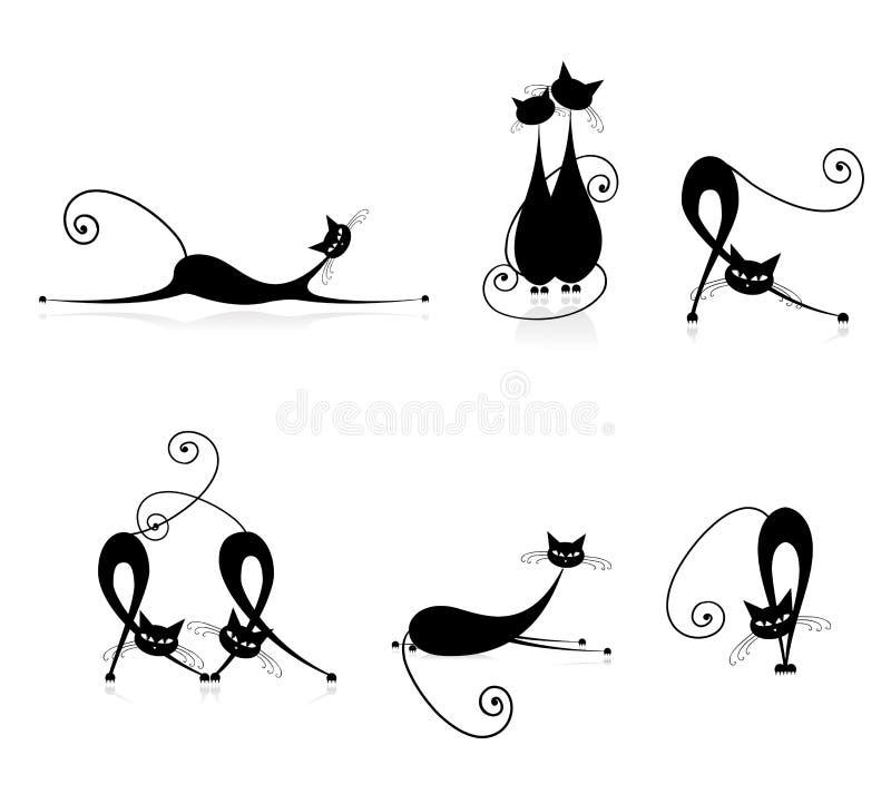 De bevallige zwarte van kattensilhouetten voor uw ontwerp stock illustratie