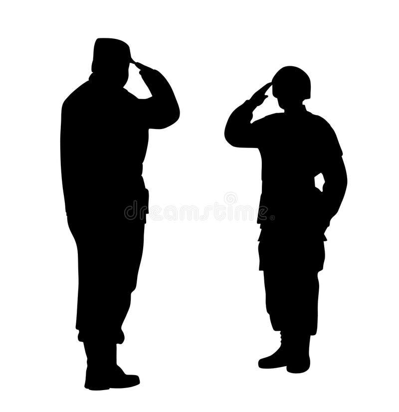 De bevelhebber en de militair groeten elkaar royalty-vrije illustratie