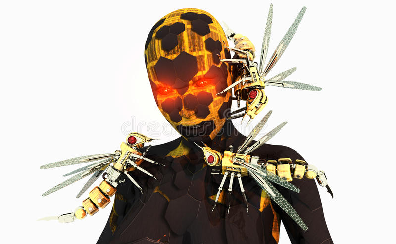 De bevelhebber van de wesp cyborg stock illustratie