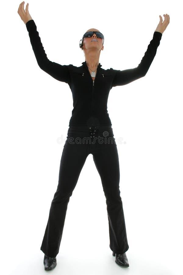 De Bevindende Handen van de vrouw omhoog stock afbeelding