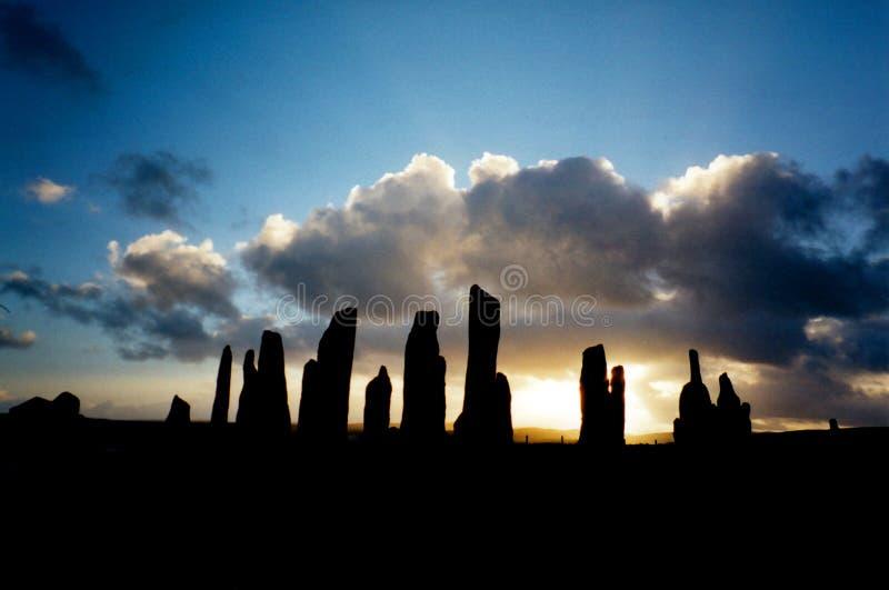 De bevindende stenen van Callanish stock afbeelding