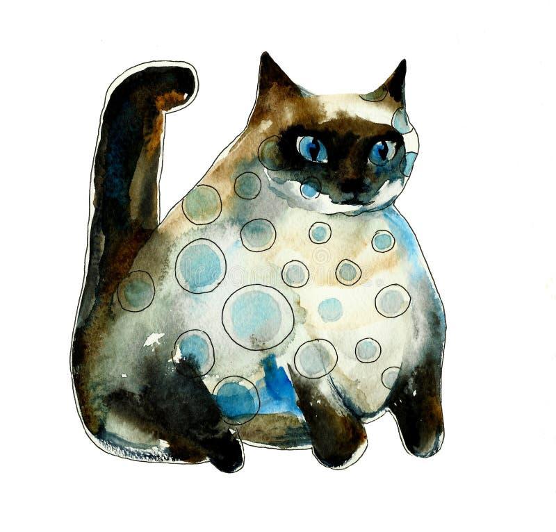 De bevlekte vette kat van waterverfsiam stock illustratie
