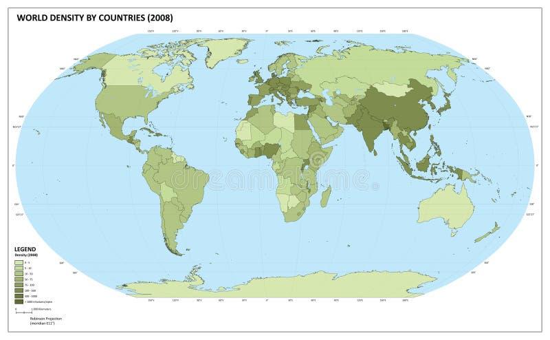 De bevolkingsdichtheidskaart van de wereld royalty-vrije illustratie