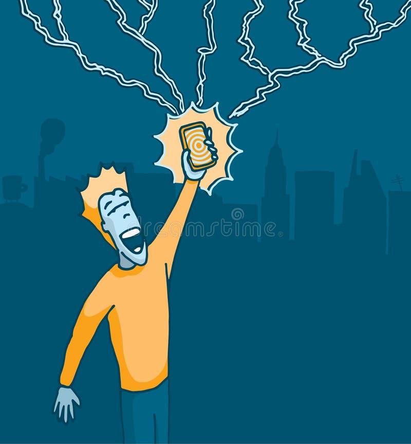 De bevordering van het krachtige van de celtelefoon of Snelheid downloaden vector illustratie