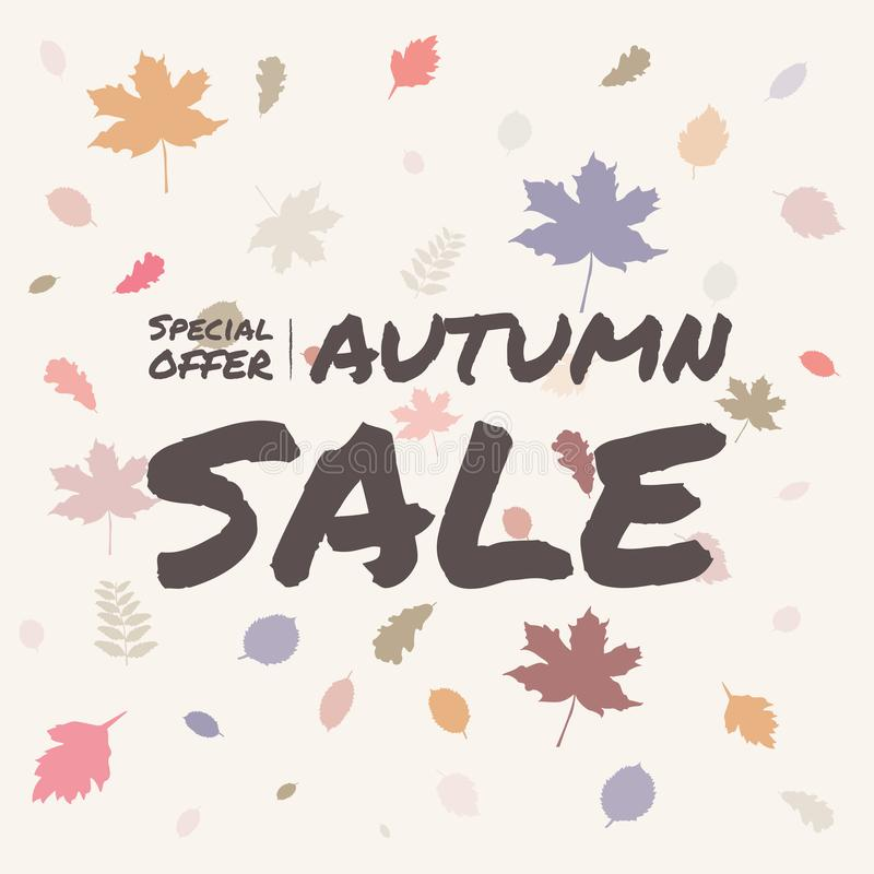 De bevordering van de de verkoopbanner van de bladerenherfst op leuke achtergrond, de speciale aanbieding van het de herfstseizoe vector illustratie