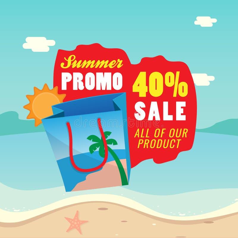 40% de bevorderings vectorillustratie van de verkoopzomer het winkelen zakpictogram met tekstlabel en van het achtergrond zandstr royalty-vrije illustratie