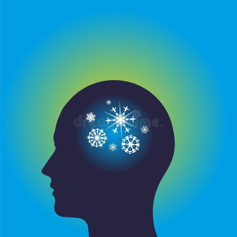 De bevroren hoofdblauw van het ideeënpictogram royalty-vrije stock afbeelding