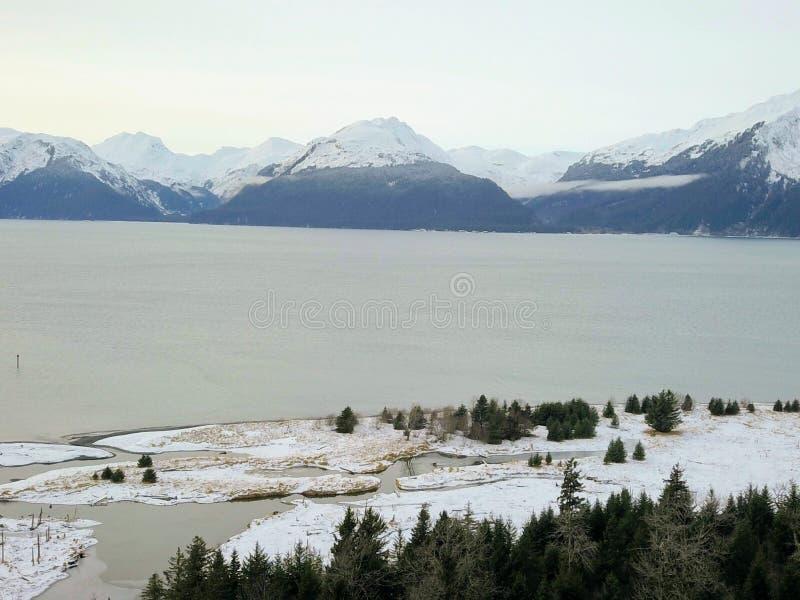 De bevroren scheepswerf van Alaska royalty-vrije stock afbeelding