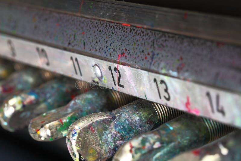 De bevuilde machine van de verfdruk royalty-vrije stock fotografie