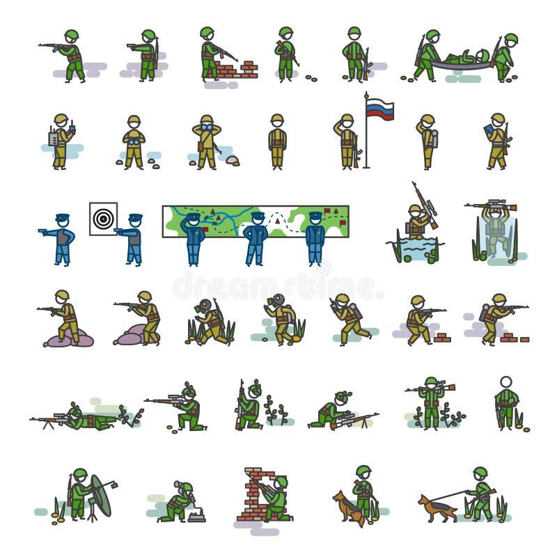 De bewapende militairen in verschillende actie stelt De vectorillustratie van de kleur De reeks van de pictogramstijl stock illustratie