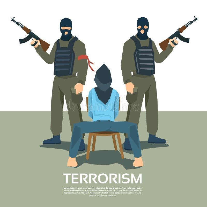 De bewapende Ontvoering van Terroristengroup with hostage vector illustratie