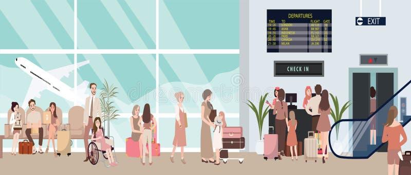 De bezige illustratie van de luchthavenscène met vliegtuig en mensen het wachten stock illustratie
