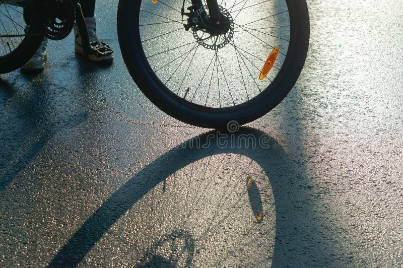 De bezinning en de schaduw van een Fiets rijden, fiets op natte wegen stock foto's