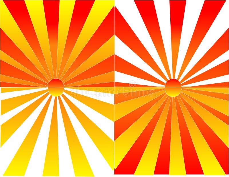 De bezinningenillustratie van de zonsopgang en van de zonsondergang vector illustratie