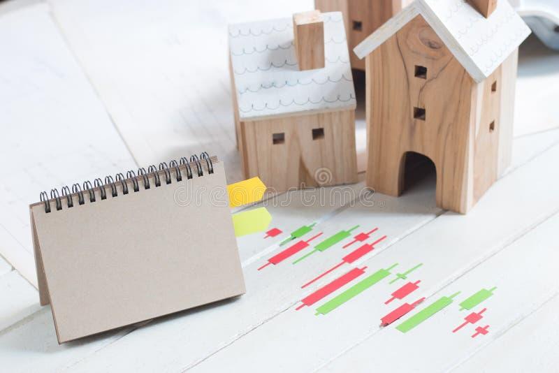 De bezitsinvestering, Bezitsinvestering, Leeg document notitieboekje met Kandelaargrafiek maakt van Groen en rood kleurendocument stock foto