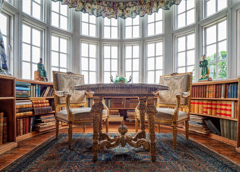 De Bibliotheek, Burton Agnes Hall, Yorkshire, Engeland stock foto
