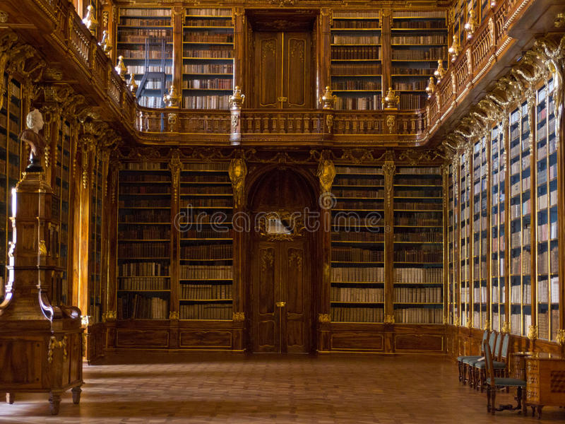 De bibliotheek Strahov in Praag. royalty-vrije stock afbeelding