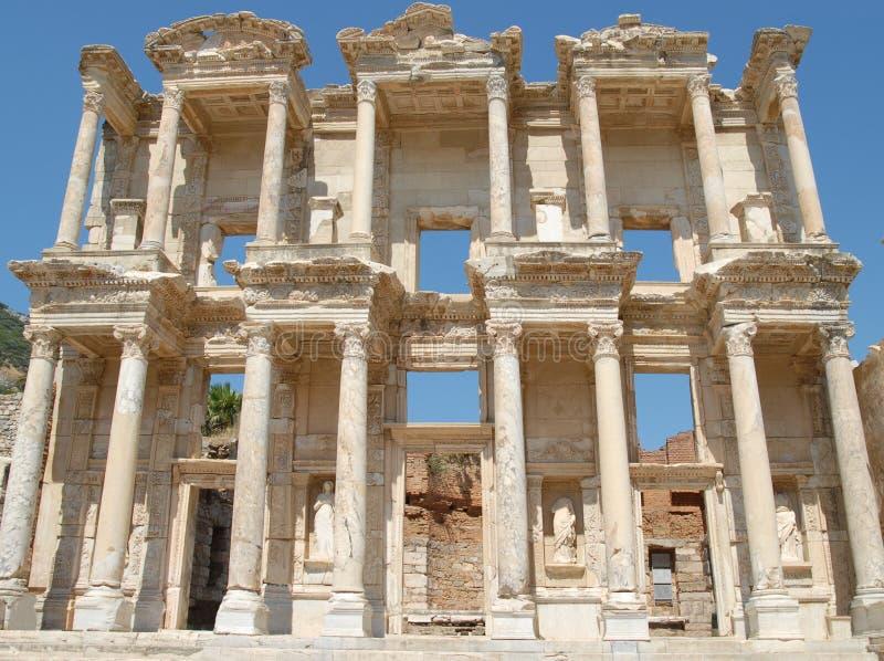 De Bibliotheek van Celsus, in Ephesus, Klein-Azië, Turkije royalty-vrije stock afbeelding