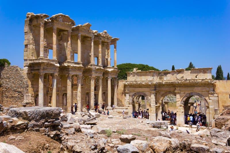 De Bibliotheek van Celsus in Ephesus, Turkije stock foto