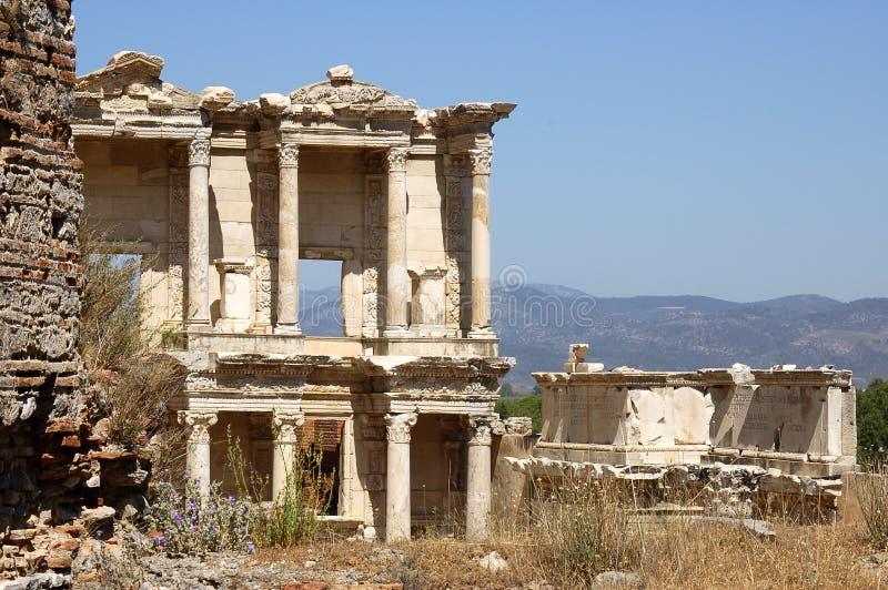 De Bibliotheek van Celsus, Ephesus, Turkije royalty-vrije stock foto