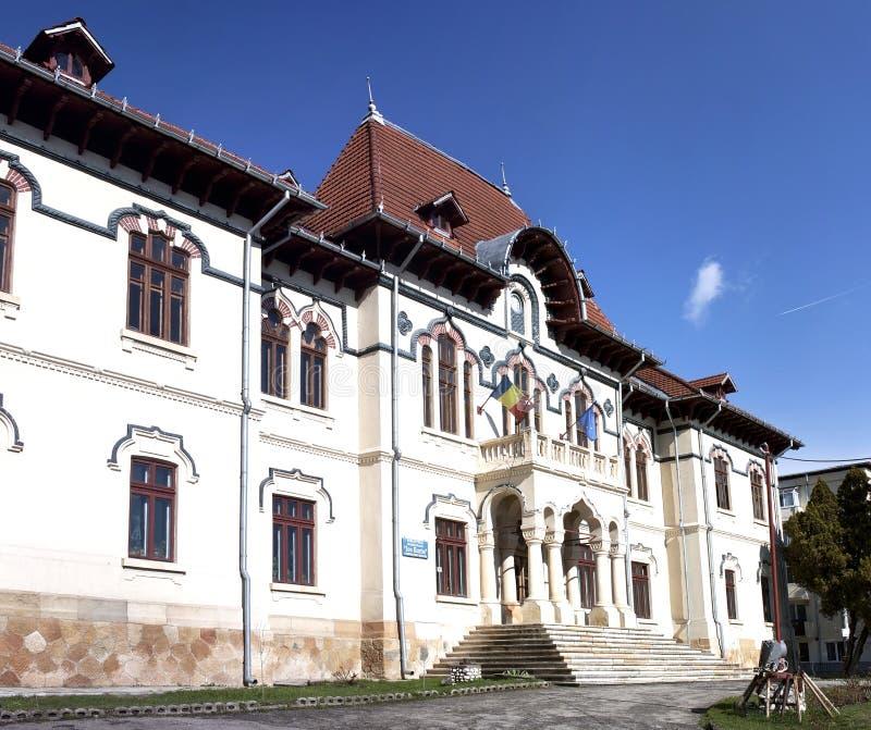 De bibliotheek van de Campulungstad stock foto