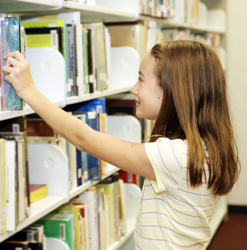 De Bibliotheek van de school - Planken stock foto's