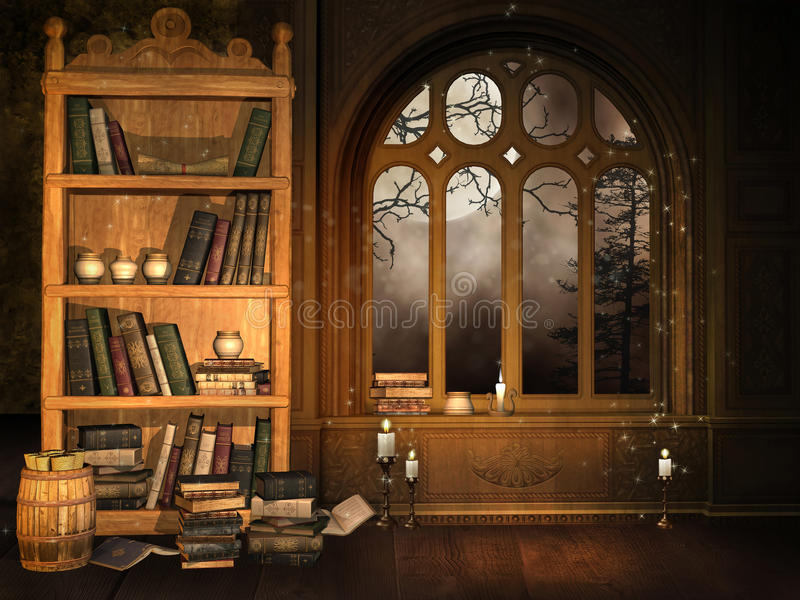 De bibliotheek van de tovenaar royalty-vrije illustratie