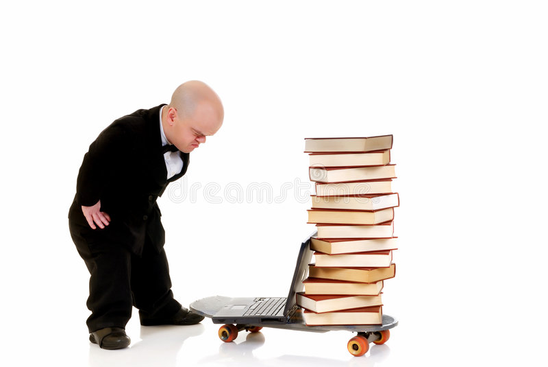 De bibliotheek van Internet het dwerg surfen stock fotografie