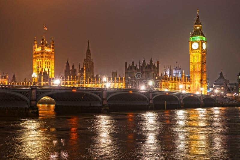 De Big Ben bij nacht, Londen, het UK. stock afbeelding