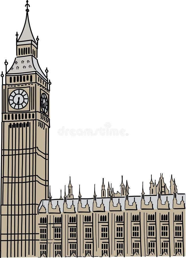 De Big Ben in Londen stock illustratie