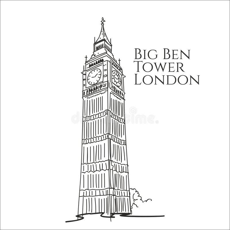 De Big Ben-toren van de schets van Londen het Verenigd Koninkrijk vector illustratie