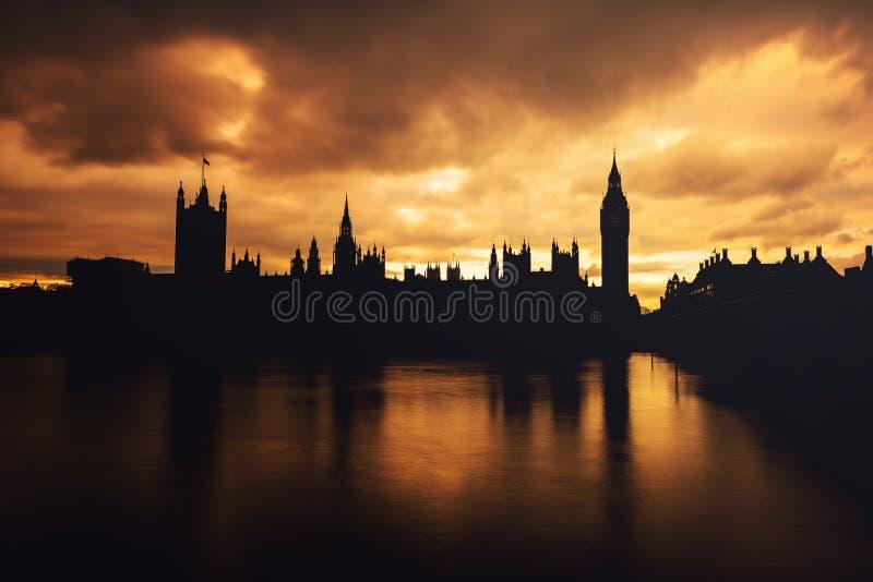 De Big Ben, zonsondergang, Londen het UK stock foto's